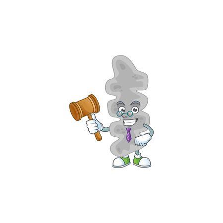 A wise Judge leptospirillum ferriphilum cartoon mascot design wearing glasses. Vector illustration