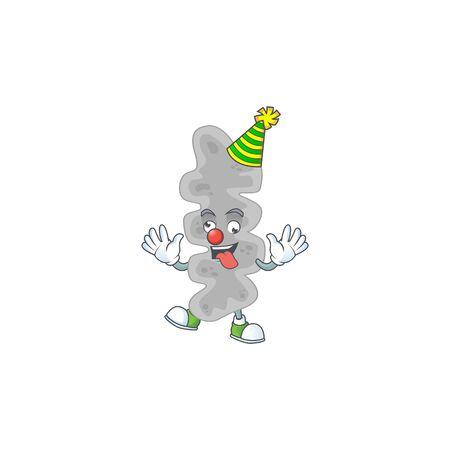 entertaining Clown leptospirillum ferriphilum caricature character design style. Vector illustration Illustration