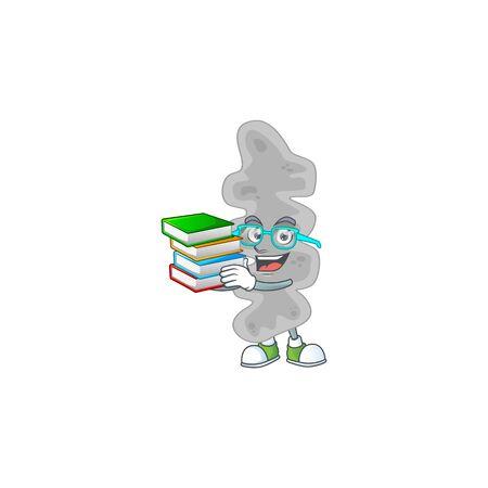 A mascot design of leptospirillum ferriphilum student having books. Vector illustration