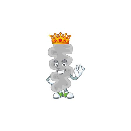A charming King of leptospirillum ferriphilum cartoon character design with gold crown. Vector illustration