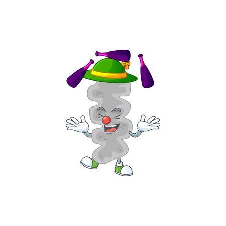 Leptospirillum ferriphilum mascot cartoon design playing Juggling on circus. Vector illustration