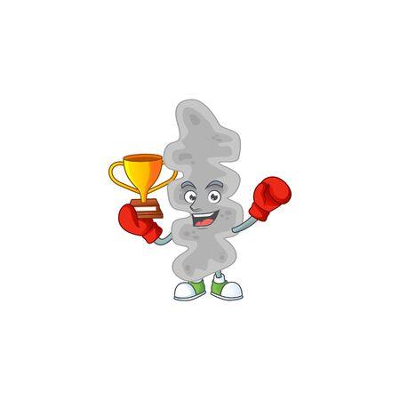 Proudly face of boxing winner leptospirillum ferriphilum cartoon character design. Vector illustration
