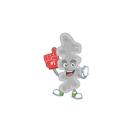 Leptospirillum ferriphilum Cartoon character design style with a red foam finger. Vector illustration Illustration