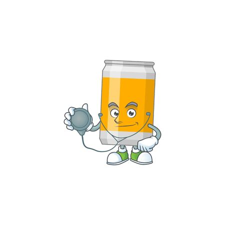 Cartoon character of beer can dedicated Doctor Work with stethoscope. Vector illustration Illustration