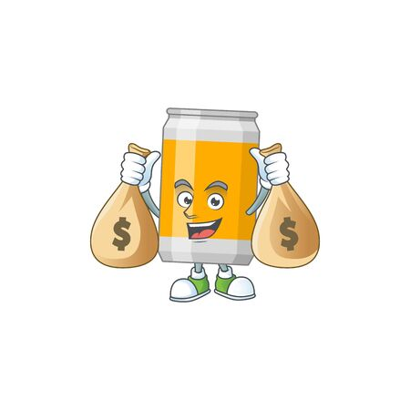 A humble rich beer can caricature character design with money bags. Vector illustration