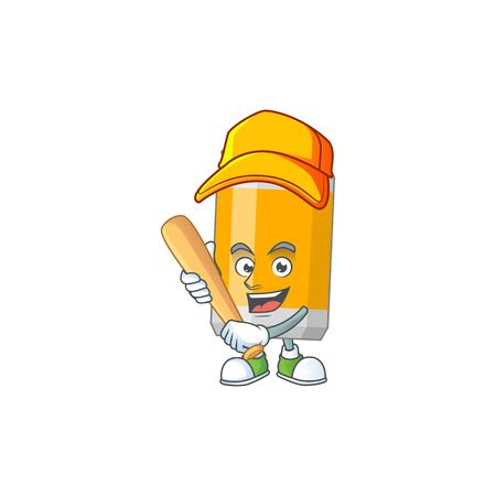 cartoon design concept of beer can playing baseball with stick. Vector illustration
