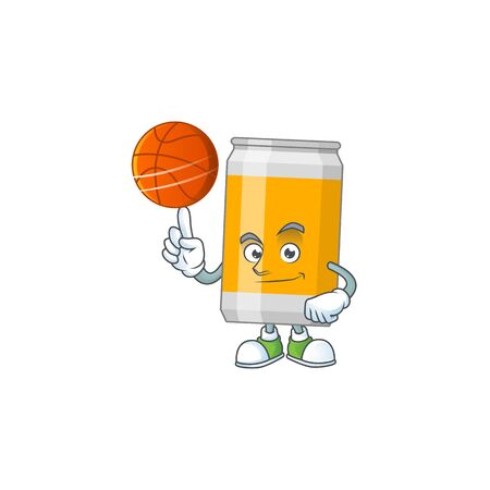 An sporty beer can mascot design style playing basketball on league. Vector illustration Illustration