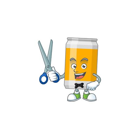 A picture of beer can Barber cartoon character working with scissor. Vector illustration