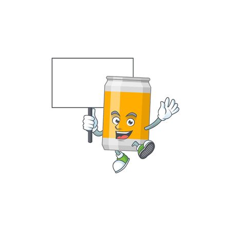 Cute beer can mascot design smiley with rise up a board. Vector illustration Illustration