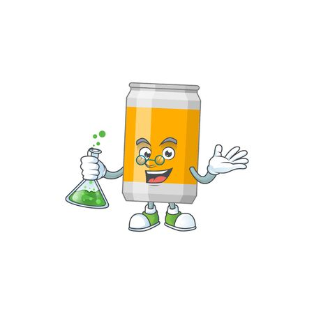 Beer can smart Professor Cartoon character holding glass tube on the lab. Vector illustration Illustration