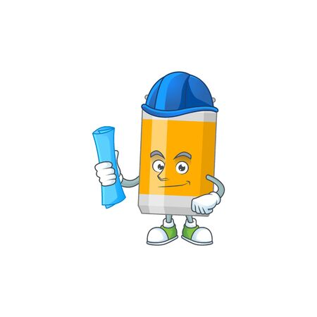 brilliant Architect beer can mascot design style with blue prints and helmet. Vector illustration