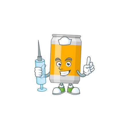 A humble Nurse beer can Cartoon character holding syringe. Vector illustration