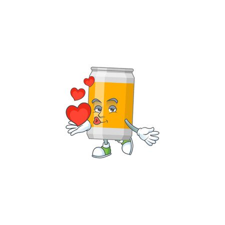 A gorgeous caricature design of beer can with red hearts. Vector illustration Illustration