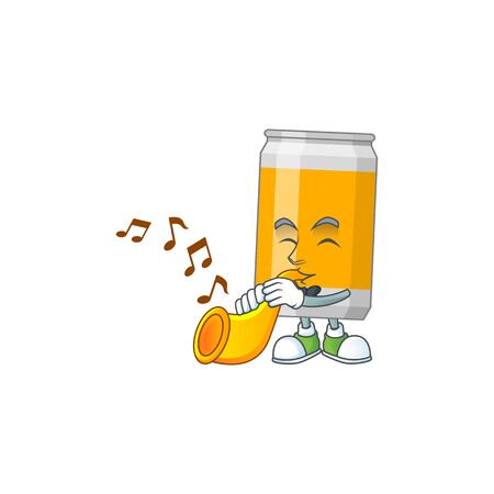 Talented musician of beer can mascot design playing music with a trumpet. Vector illustration