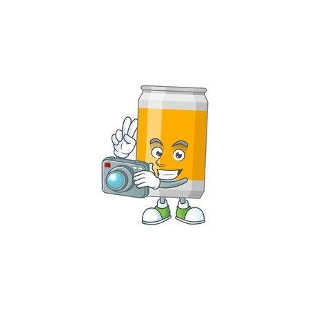 Beer can photographer mascot design taking a picture with a camera. Vector illustration