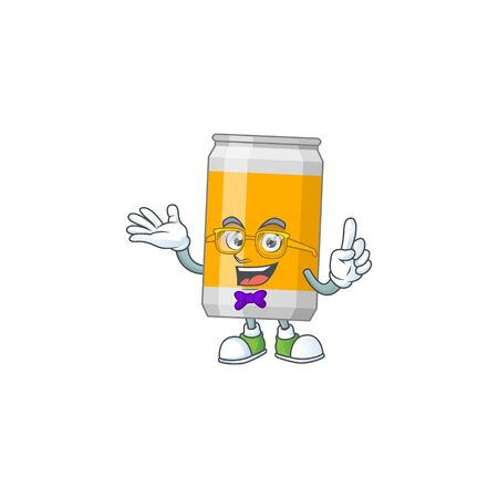 Cartoon character design of nerd beer can with weird glasses. Vector illustration
