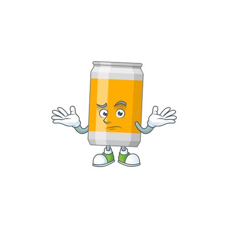A cartoon image of beer can in smirking face. Vector illustration Illustration