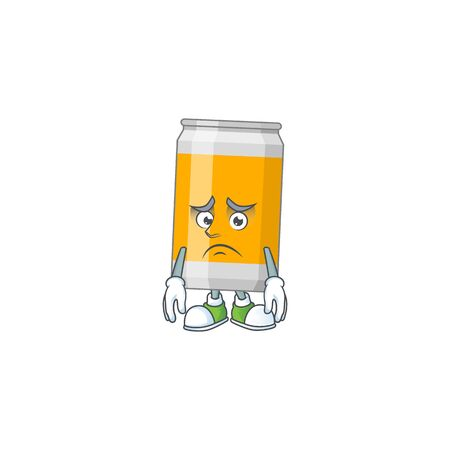 Beer can Caricature design picture showing worried face. Vector illustration