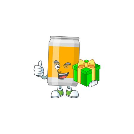 Happy smiley beer can cartoon mascot design with a gift box. Vector illustration