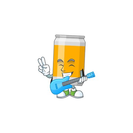 Beer can cartoon character style plays music with a guitar. Vector illustration