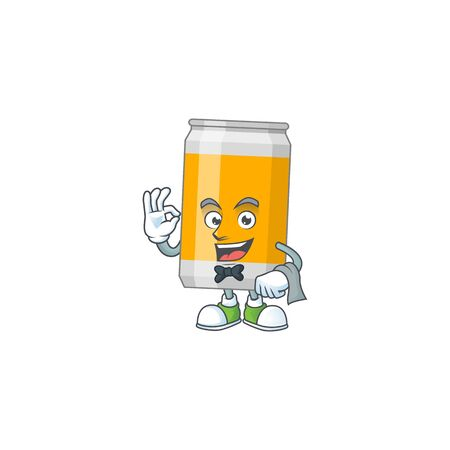 A cartoon image of beer can as a waiter character ready to serve. Vector illustration Illustration