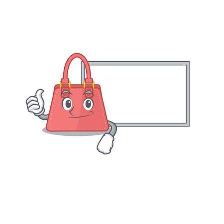 Women handbag cartoon design with Thumbs up finger bring a white board. Vector illustration