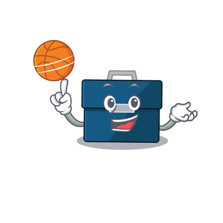 Sporty cartoon mascot design of business suitcase with basketball. Vector illustration