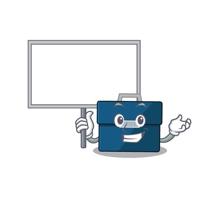 Cartoon picture of business suitcase mascot design style carries a board. Vector illustration