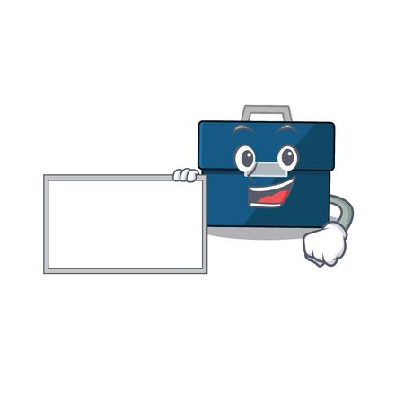 Cartoon character design of business suitcase holding a board. Vector illustration