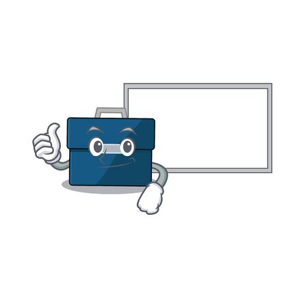 Business suitcase cartoon design with Thumbs up finger bring a white board. Vector illustration
