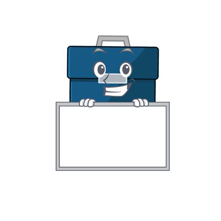 Business suitcase cartoon design style standing behind a board. Vector illustration