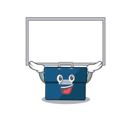 Caricature character of business suitcase succeed lift up a board. Vector illustration