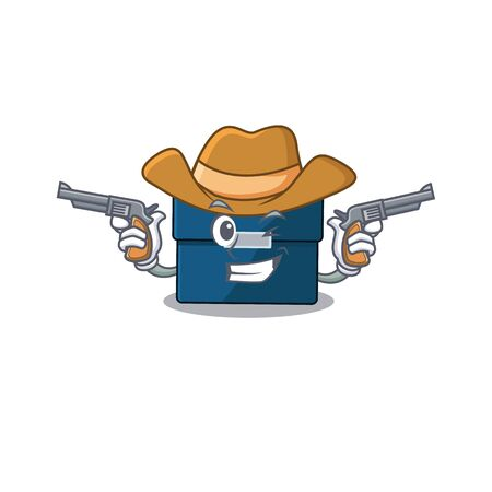 Cartoon character cowboy of business suitcase with guns. Vector illustration Illustration