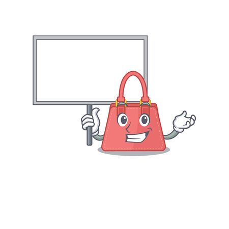 Cartoon picture of women handbag mascot design style carries a board. Vector illustration