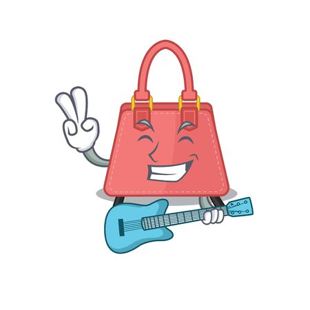 brilliant musician of women handbag cartoon design playing music with a guitar. Vector illustration