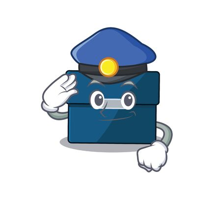 Police officer cartoon drawing of business suitcase wearing a blue hat