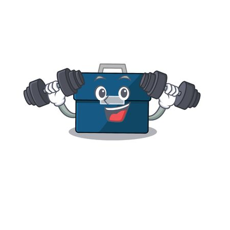 Business suitcase mascot design feels happy lift up barbells during exercise Ilustrace
