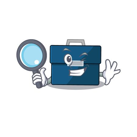 cartoon picture of business suitcase Detective using tools Çizim
