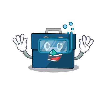 Business suitcase mascot design swims with diving glasses 版權商用圖片 - 147774517