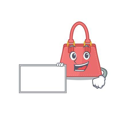 Cartoon character design of women handbag holding a board 矢量图像