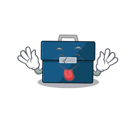 Funny business suitcase cartoon design with tongue out face Stock Illustratie