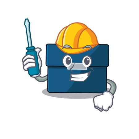 Business suitcase caricature design concept worked as an automotive mechanic