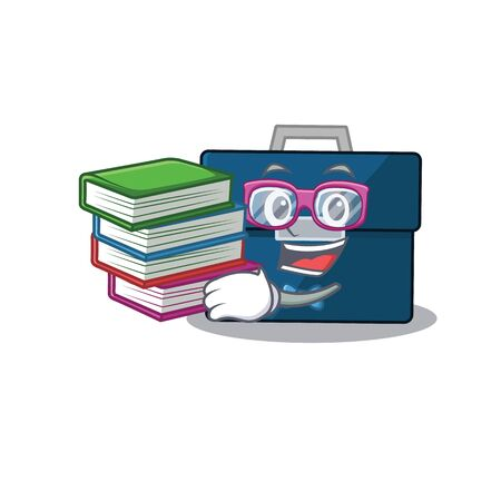 A diligent student in business suitcase mascot design concept read many books