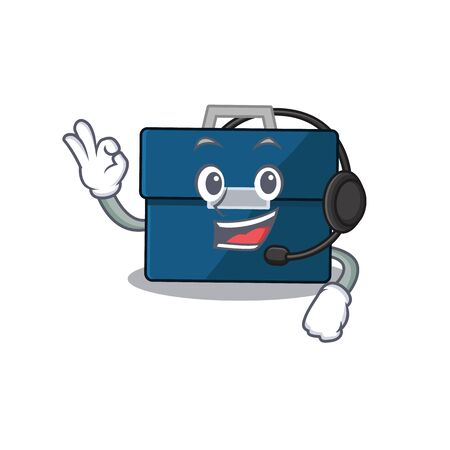 A stunning business suitcase mascot character concept wearing headphone