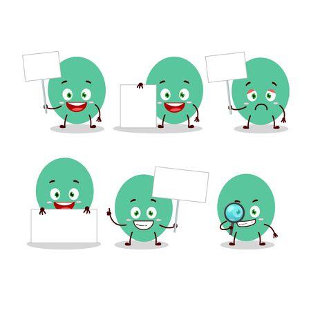 Green baloon cartoon character bring information board 矢量图像