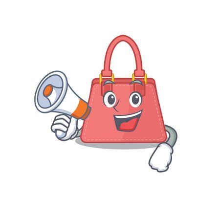 Mascot design of women handbag announcing new products on a megaphone