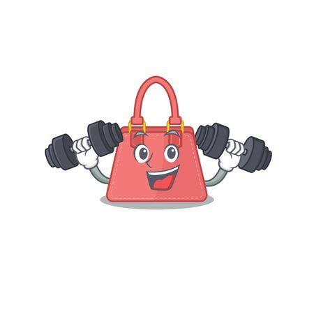 Women handbag mascot design feels happy lift up barbells during exercise