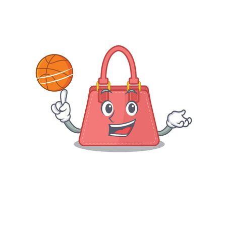 Sporty cartoon mascot design of women handbag with basketball. Vector illustration