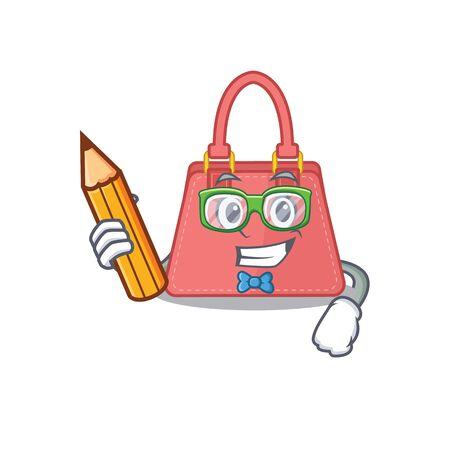 A clever student women handbag cartoon character study at home. Vector illustration