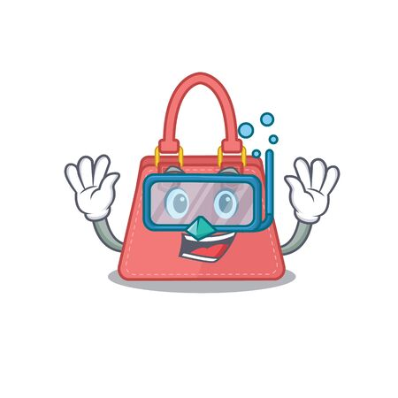 Women handbag mascot design swims with diving glasses Illustration